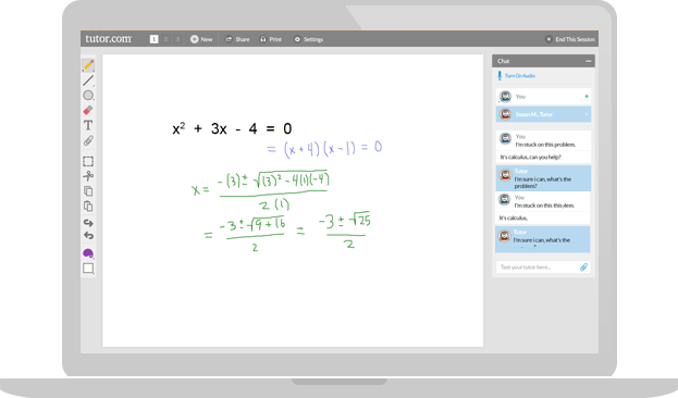 Algebra Online Tutoring Session
